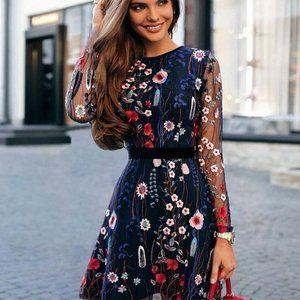 Floral Embroidery  Sheer Mesh  Boho Mini Dress